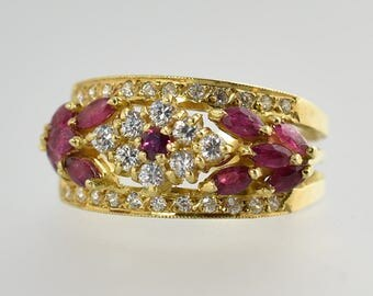 Vintage Estate Diamond and Ruby 18K Yellow Gold Ring Size 6.5