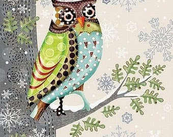 Set of 5 beautiful paper napkin,decoupage paper, collage Lunch Napkins Serviettes- Owl on the tree ,Mix Media,Altered Art