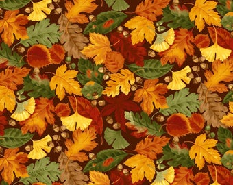 Harvest Leaves Fabric Autumn Fabric From David Textiles 100% Cotton