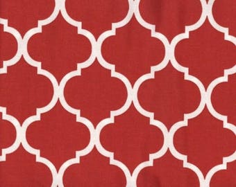 Quatrefoil Fabric White on Red Tomato 100% Cotton