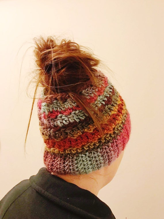 Crochet Messy Bun Hat : Messy Bun Hat CROCHET PATTERN, Top Knot Hat, Pony Tail Hat, Ponytail ...