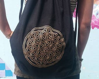Flower of Life embroidered bag