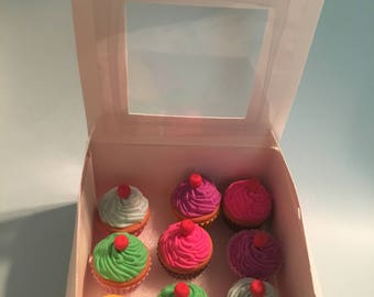 """Doll Accessories - Box of 9 (pretend) Cupcakes fits American Girl Or 18"""" Doll"""