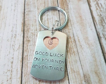 Good luck on your new adventure double layered going away gift keychain