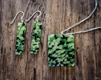 Light Greens and Deep Blue Tones Mosaic Jewelry Set
