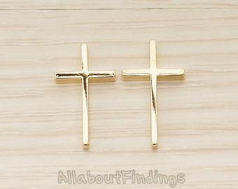 BDS055-G // Glossy Gold Plated Skinny Cross Flat Metal Bead Charm, 2 Pc