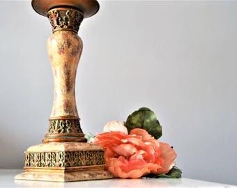 CANDLESTICK ELEGANT CANDLEHOLDER Beige Rust Antique Gold