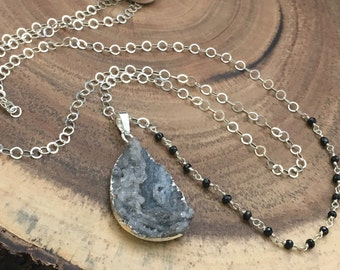 Druzy Necklace, Black Spinel Necklace, Asymmetrical necklace, Sterling Necklace, Gemstone Necklace, necklaces under 100