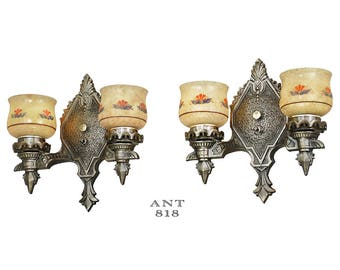 Pair of Antique Wall Sconces Double Arm 1920s Rewired Light Fixtures (ANT-818)
