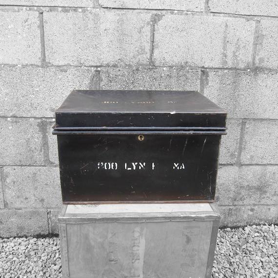 Metal Deeds Box Industrial 1920s Black Trunk Chest Storage