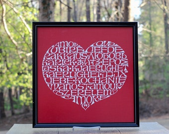 Vintage Alexander Girard International Love Heart Textile Panel / Alexander Girard Typographic Love Heart / Girard Fabric Heart Wall Hanging