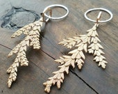 Cedar Leaf and Hexagon Cast Bronze Earrings