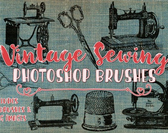 Vintage Sewing Clip art & Photoshop Brushes - 23 Vintage Sewing ClipArt Illustrations, crochet, sewing machine elements