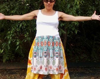 PANEL TANK TOP Upcycled Top Tank Top Hippie Top Womens Top One of a Kind *Cream with Orange & Teal*