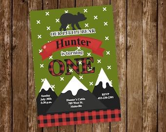 Lumberjack, Bear, Woods, Wilderness, Boy, Birthday Party Invitation