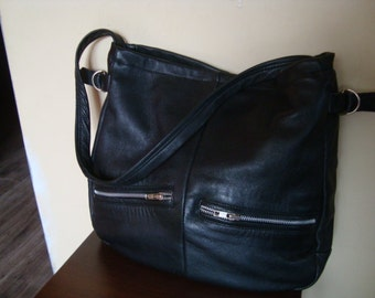 SALE///Black leather bag/ recycled leather bag