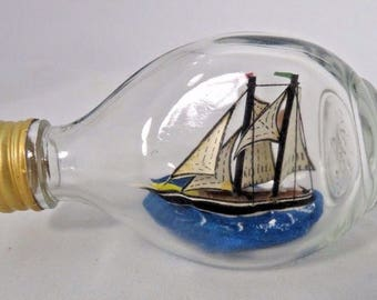 Ship in a Bottle Ships in Miniature York England Haigs Whisky Nautical Small Vtg