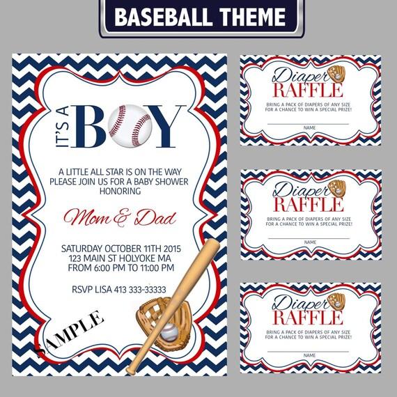 Baseball Theme Baby Shower Invitation And Diaper Raffle