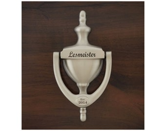 Personalized Door Knocker,  Engraved -  Satin Nickel Brass Finish, Gift Boxed,  Realtor, Builder