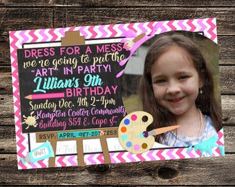 Art Birthday Party Invitation, Painting,  Paints, Palette, Easel, Custom Printable 5x7 or 4x6 with Photo
