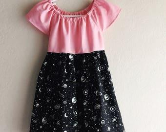 Its Cosmic dress - size 2t, 3t, 4t, 5, 6, 7, 8, girls glow in the dark space dress, cosmic bowling dress, space dress, planet dress, stars