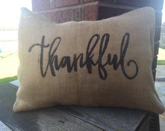 Burlap Thankful Pillow Cover 12x16