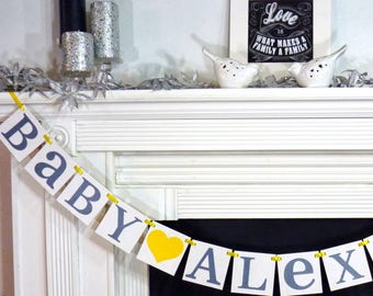 Baby - Custom Name Banner / Baby Shower / Nursery Sign / Baby's Name / Personalized Last Name / Nursery Sign / Nursery Garland / Baby Names