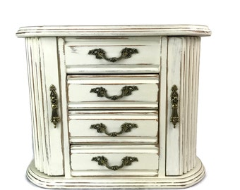 Jewelry box, jewelry armoire, gift for her, trinket box, jewelry organizer, white jewelry box, ornate jewelry holder