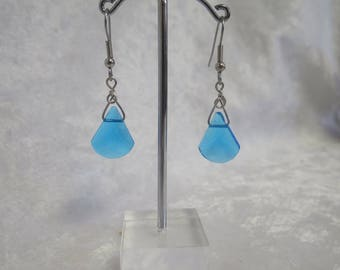 blue glass earrings- unique design