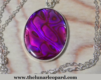 Pink and Purple Paua Shell Necklace