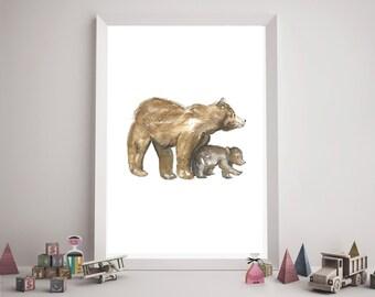 Woodland Bear Nursery Art Print, Baby Bear Nursery Art, Baby Forest Animals Print, Watercolor Bear Print, Digital, Instant Download