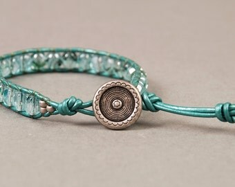 Aqua and Emerald Firepolish Leather Wrap Bracelet with Silver Button