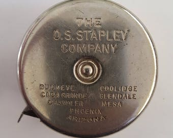 Vintage mid 1930's O.S. Stapley Co. Hardware Store Lufkin Mezzurall advertising tape measure, rare piece.