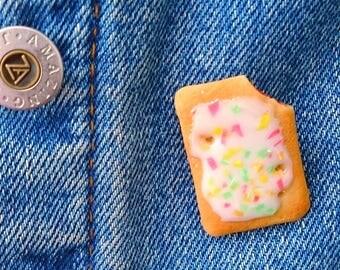 Strawberry Pop Tart Pin, Pop Tart Brooch, Toaster Pastry Charm, Miniature Food Jewelry, Breakfast Food Pin