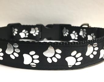 """1"""" Silver paws *black* collar"""