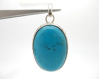 "Vintage Sterling Silver/925 Oval Turquoise Bezeled Dangle Pendant-2"", 20.4gr; sku # 3012"