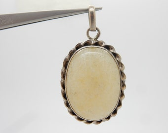 Vintage Sterling Silver/925 Oval White Quartz Bezeled Dangle Pendant; 18.9gr ; sku # 3065