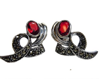 925 silver garnet pendant earrings with marcasite BE8904