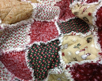 Christmas Rag Quilt, Throw Quilt, Lap Quilt, Red Gold Green, Christmas Whimsy, Holiday Home Decor, Handmad 48 X 54, Ready To Ship, Modern,