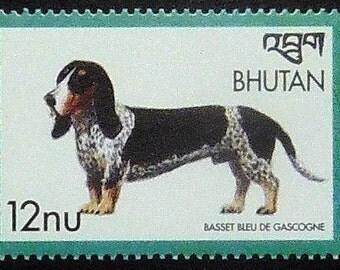 Basset Bleu De Gascogne Dog -Handmade Framed Postage Stamp Art 21110AM
