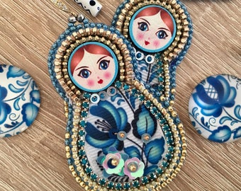 For order, Matryoshka earrings, embroidered earrings, nesting doll earrings, zipper earrings, OOAK.
