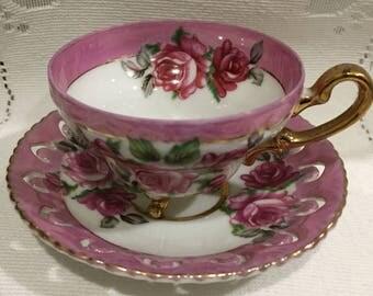Vintage, footed  Demi Bone China Tea Cup & Saucer  -  Japan - Demitasse