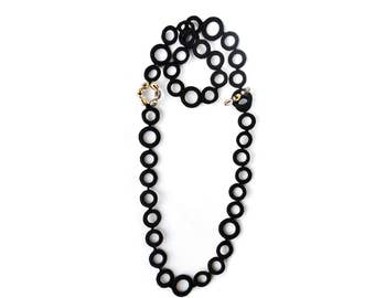 New Long Necklace,Planet ring in Black Cotton yarn and crystal beads,Luxury, in Fashion, crochet jewelery, Textile Necklace, Modern Necklace