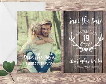 Rustic Save The Date Card, 5x7 Save the Date, Photograph Save the Date, Save Our Date, Engagement Announcement, Save the Date with Antlers