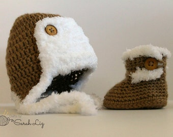 Crochet Trapper Hat, and Furry Baby Booties Set, Infant Trapper Hat, Baby Fur Boots, Baby Trapper Hat and Booties, Fur Baby Hat and Booties