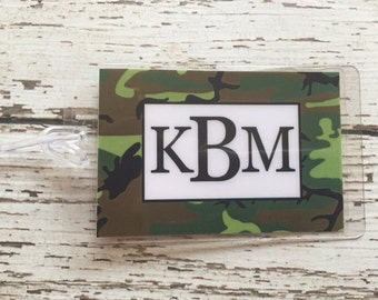 Luggage Tag The Mr. with Mustache and Camo Laminated Luggage Tag Honeymoon Wedding Personalized with ribbon Monogramed for