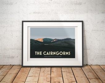 The Cairngorms, Highlands, Scotland, UK - signed travel poster print