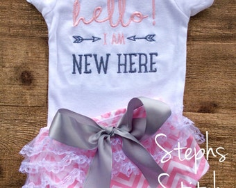 I'm. New Here Onesie and Ruffled Diaper Cover Set