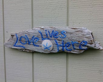 Driftwood Sign Love Lives Here Hand Painted Wall Hanging Beach Home Coastal Patio Driftwood Wall Art Sign