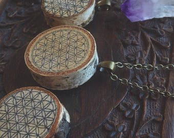 Wooden Flower of Life necklace